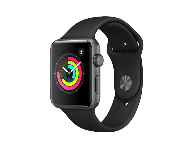 اپل واچ سری3 / Space Gray Aluminum Case 38mm با بند Black Sport Band