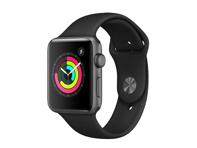 اپل واچ سری3 / Space Gray Aluminum Case 42mm با بند Black Sport Band