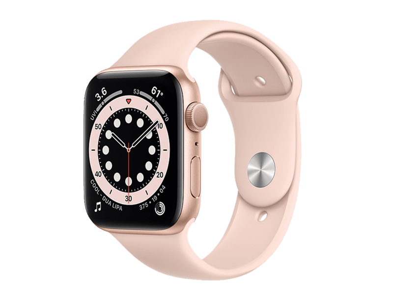 اپل واچ سری 6 /Gold aluminum case 44mm silicone band